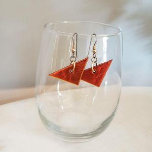 Vintage Mod Orange Triangle Dangle Earrings